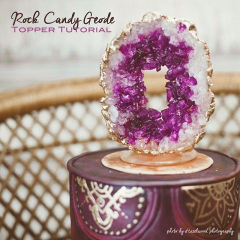 How to make a rock candy cake topper.  DIY cake topper tutorial.  Purple amethyst bohemian wedding cake.