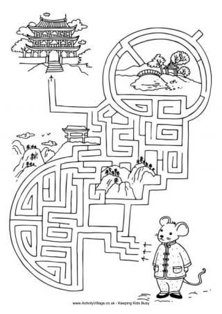Chinese New Year Puzzles - including mazes, spot the difference, maths fact colouring, bogglers and more