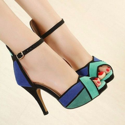 This shoes will make any ensembles fashionable and stylish. This shoes features thin high heels, peep toe design and is accented by a buckles strap closure. Crafted from PU, flock and soft leather mat