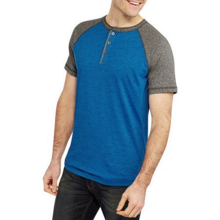 Faded Glory Men's Henley Tee, Size: Large, Multicolor