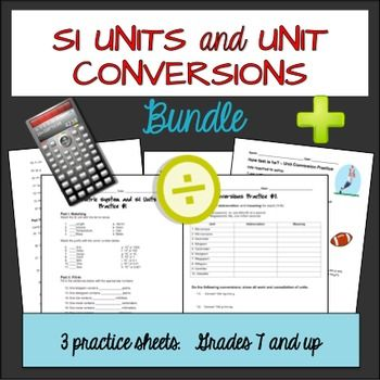 3 bundled practice sheets for SI units and unit conversions.