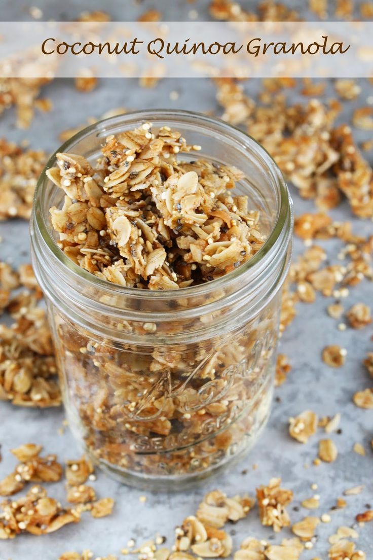 Coconut Quinoa Granola. It's so easy to make your own granola and this one is healthy! Made with coconut oil, quinoa, rolled oats, chia seeds, and more!