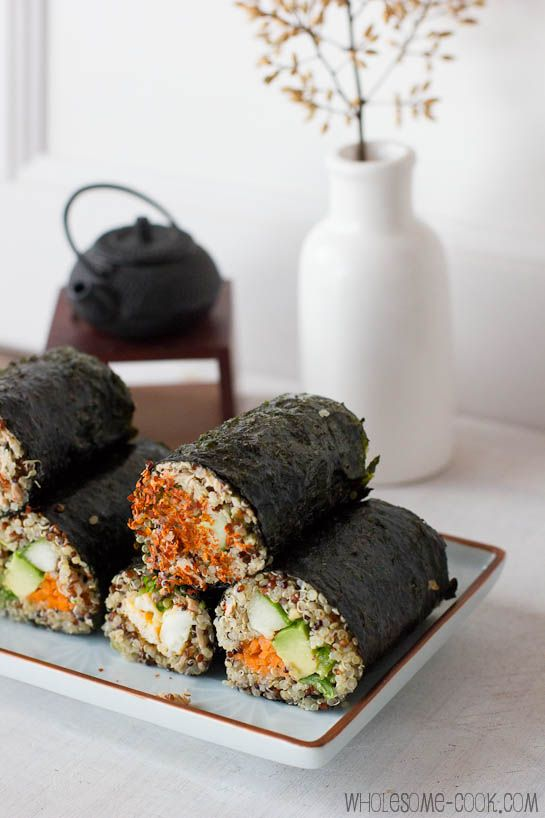 Quinoa sushi rolls. This sounds so amazing. I've never made quinoa before, but this could be how I get into it!