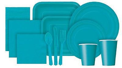 Solid Colour PAPER PARTY TABLEWARE Cups Plates Napkins Cutlery Tablecovers | eBay 16x 9 inch £1.75 carribean teal