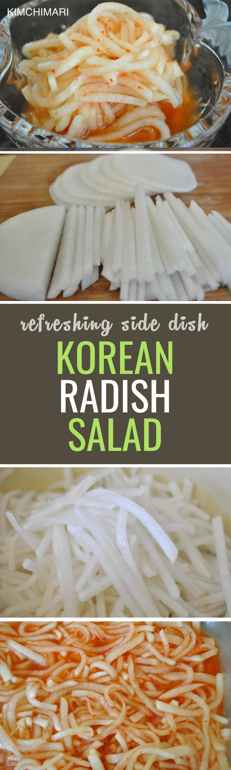 Moo means radish in Korean, and it has versatile use over almost any dish from salads to soups and even tea. This salad is similar to kimchi but a lot lighter and easier to make!