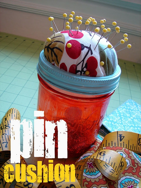 diy pin cushion - like this one better because you can store your pins in the mason jar ... gift for the girls to make for their grandma
