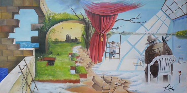 """Stairways"" - Oil on canvas.    #art #painter #painture #surrealism"