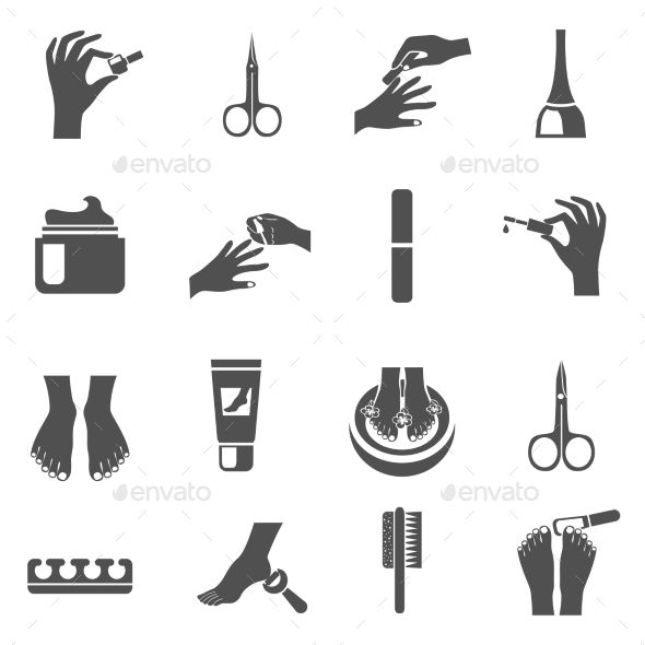 Manicure And Pedicure Black Icons Set