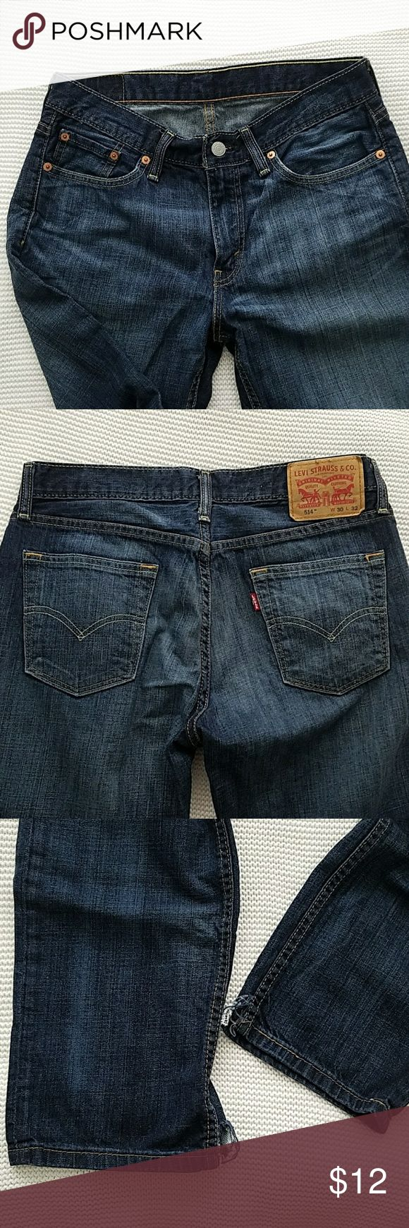 Men's 30/32 levis 514 🌿LEVI STRAUSS JEANS🌿 men's size 30 waist 32 length  Comfortable pants!! Cuts on the bottom of the jeans.. refer to pictures!  FEEL FREE TO ASK ANY QUESTIONS! 😊 Levi's Jeans Bootcut