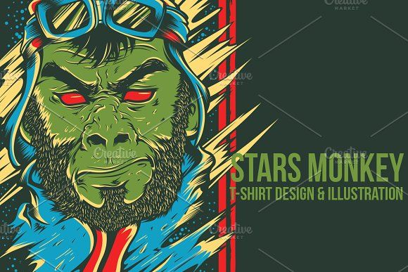 Stars Monkey Illustration by badsyxn on @creativemarket . . . . . #vector #editable #design #tshirt, #tees #cloth #clothingline #unique #awesome #cool #badass #nice #online #shop #brand #artwork #freelance #custom #apparel #product #bussiness #community #stars #traveler #green #apes #astronout #club #nasa #science #merch #event #streetwear