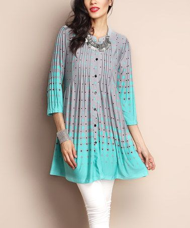Look what I found on #zulily! Gray & Aqua Dot Button-Front Tunic #zulilyfinds