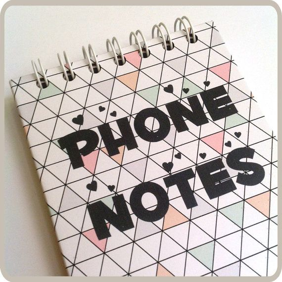 Phone Notes  cute & small spiral notebook. by Fun2Art on Etsy