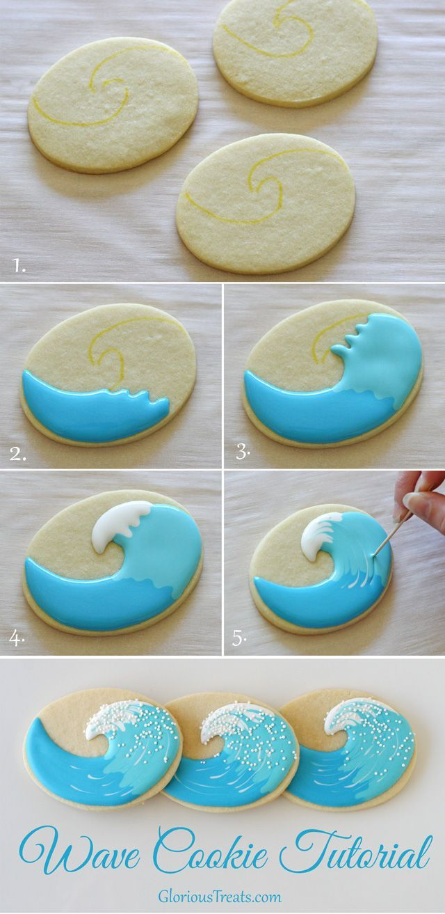Fun beach themed cookies including surfboard and wave cookies, with recipe and decorating instructions.