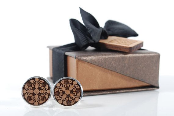 ACANTUS cuflinks ready to give gift box solid by MoodForWood