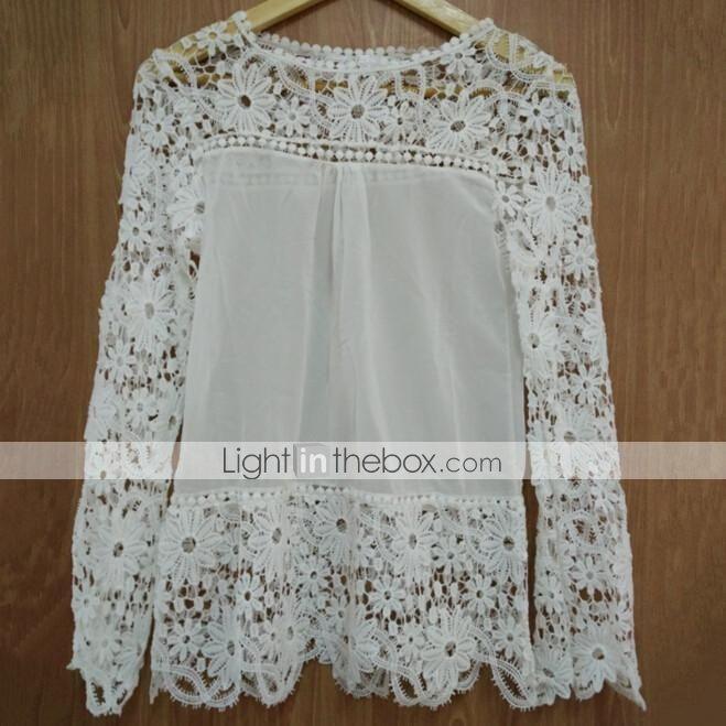 Hou&Tong® Women's Fashion Lace Crochet Chiffon T Shirt Long Sleeve Floral Tops Blouses - DKK kr. 65 http://www.lightinthebox.com/da/hou-amp-tong-kvinders-mode-blonder-haeklet-chiffon-t-shirt-lange-aermer-floral-toppe-bluser_p2231159.html Str.: XXXL