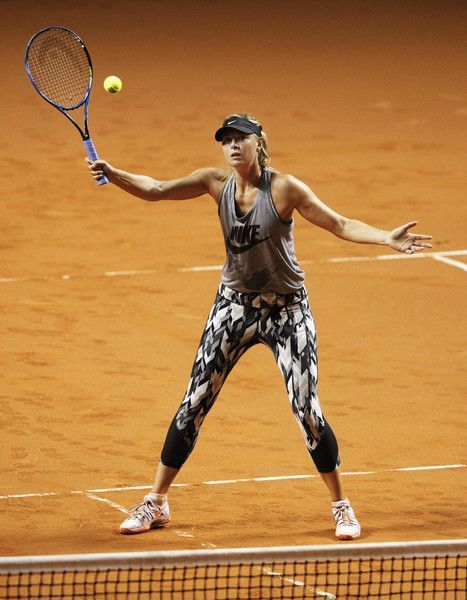 Maria Sharapova Photos - Maria Sharapova of Russia in action during training before her match against Roberta Vinci of Italy during the Porsche Tennis Grand Prix at Porsche Arena on April 26, 2017 in Stuttgart, Germany. - Porsche Tennis Grand Prix - Day 3