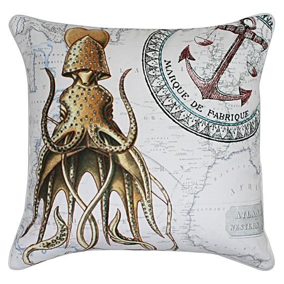 For quirky squid-cool designs to give your décor a seaside boost, opt for the Polvo Cushion from One Duck Two.