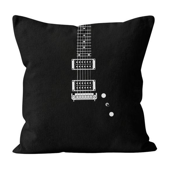 Almofada PillowShow coleção Minimalist Rock, Guitarra Warlock, 45 x 45 cm, frente e verso. #pillowshow #almofada #minimalista #rock #guitarra #warlock