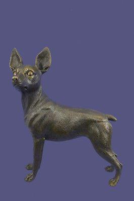 Handmade-Hot-Cast-Bronze-Chihuahua-Puppy-Dog-Figurine-Sculpture-Statue-Decor-Art