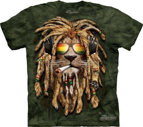 Lion-Shirt-Rasta-Smokin-Jahman-T-shirt-Tie-Dye-Green-Adult-Tee