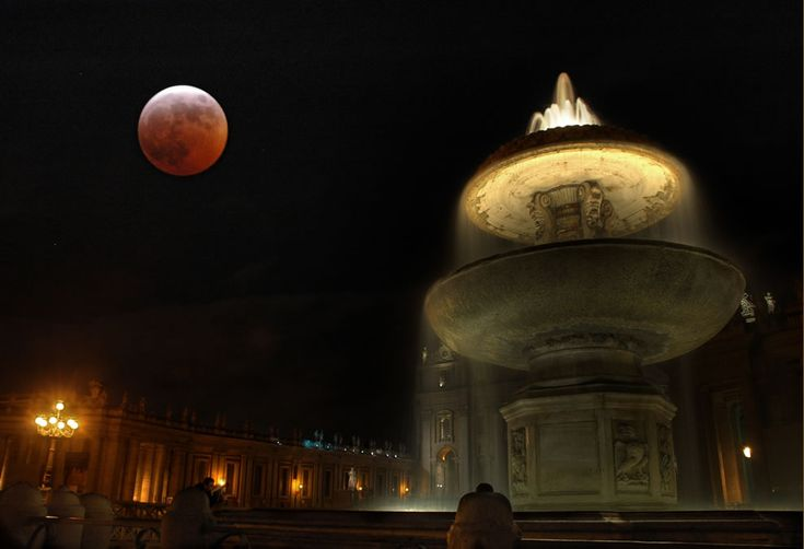 Lunar eclipse, over Vatican City in March 2008