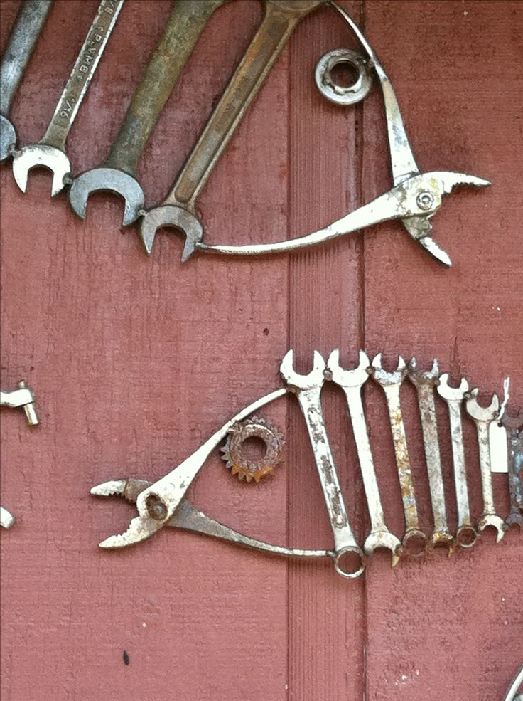 salvaged & repurposed old tools into fish, wrenches, pliers; original artist unknown; Upcycle, Recycle, Salvage, diy, thrift, flea, repurpose, refashion! For vintage ideas and goods shop at Estate ReSale & ReDesign, Bonita Springs, FL