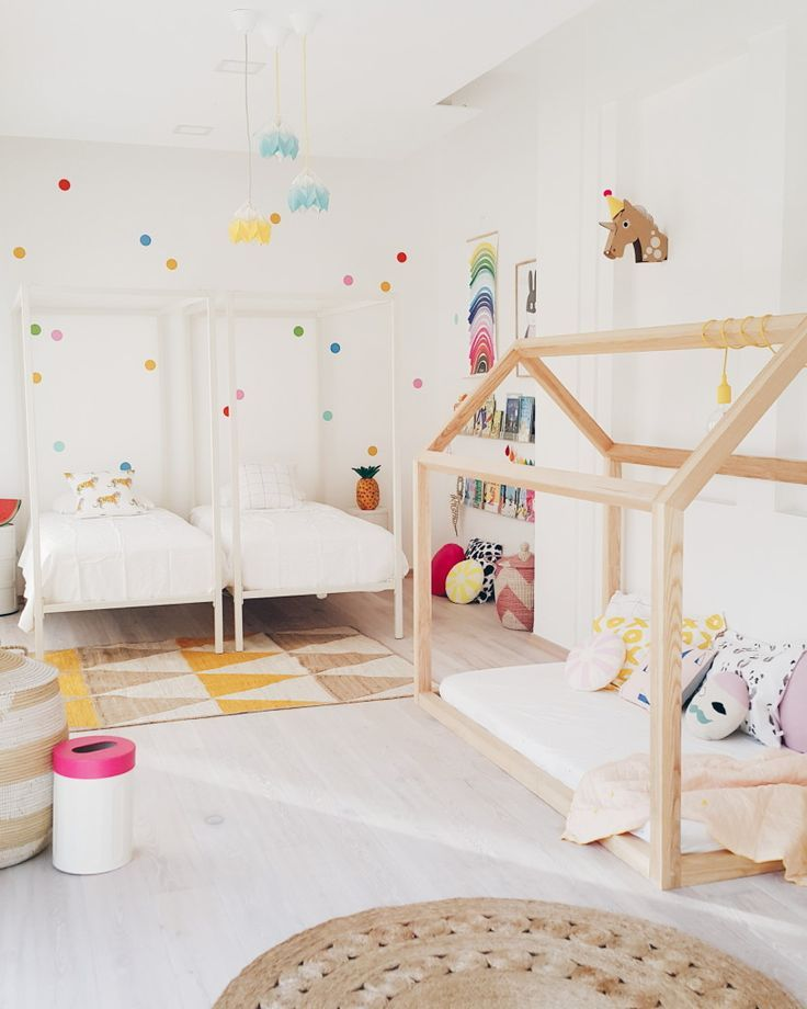 Live Loud Girl - Shared girls room with play house. Love these Scandinavian inspired kids rooms. Can I be a kid again?