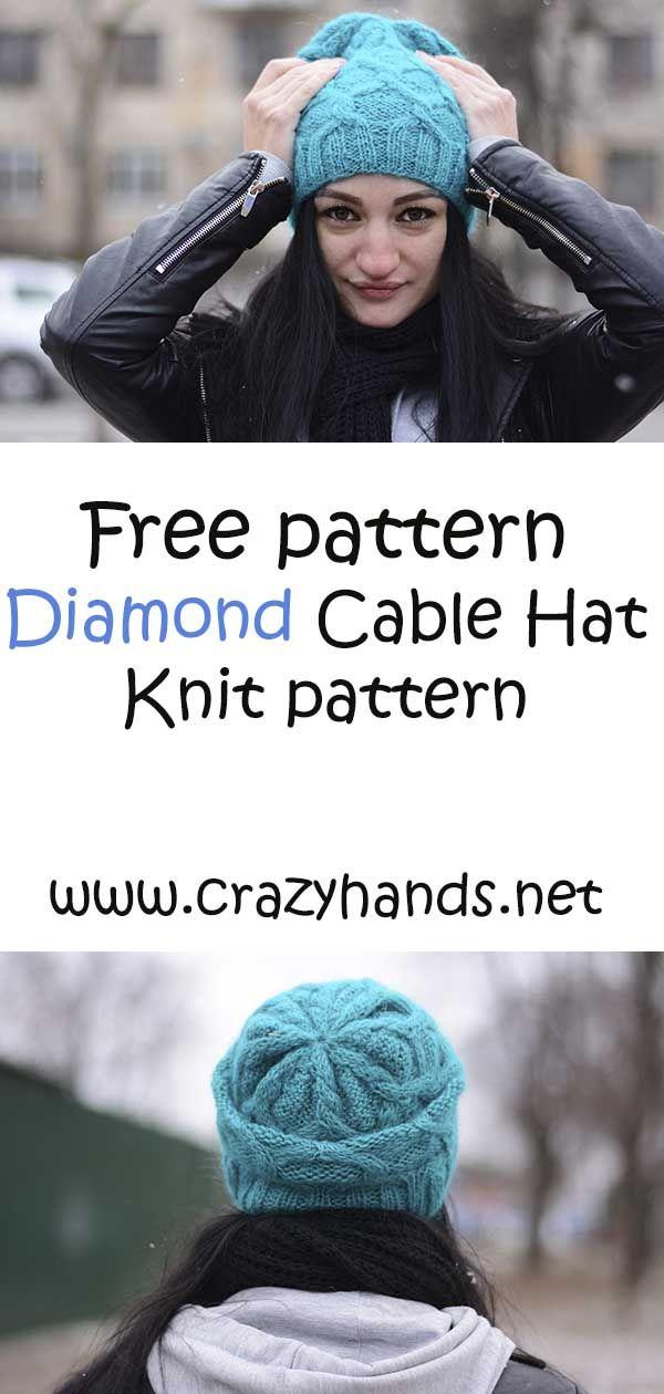 Free Knitting Pattern: Diamond Knit Cable Hat Pattern #Knithat ...