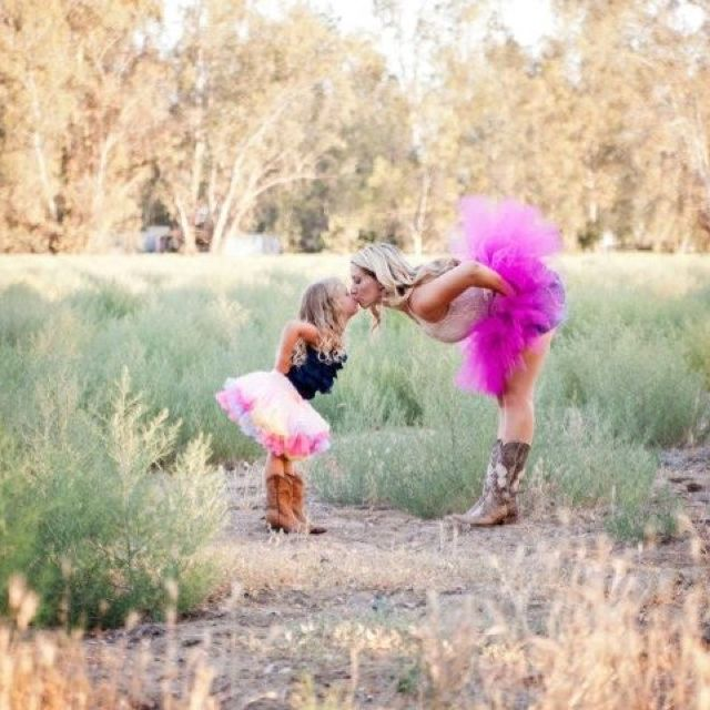 Mother and daughter ... Tutus and cowboy boots photoshoot