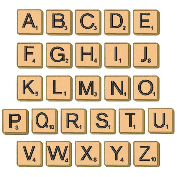 Concord Collections Geometric Embroidery Fonts Scrabble Tiles No Numbers Inches H
