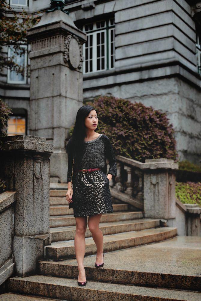 Kenneth Cole Petites: Jacquard leopard skirt + metallic sweater