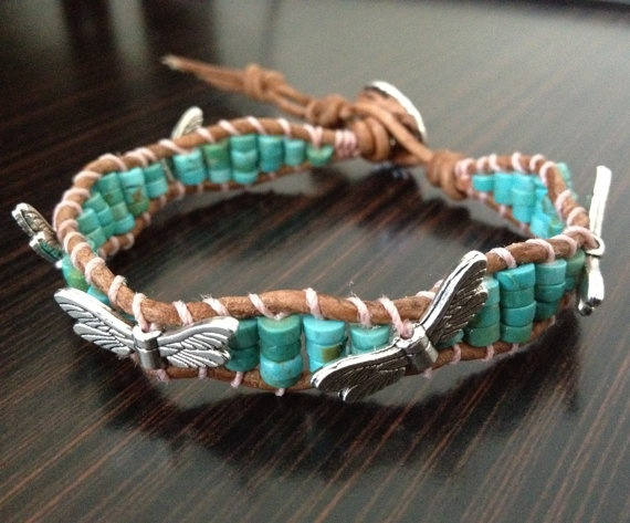 Turquoise Leather Wrap Bracelet Single Wrap by DESIGNbyANCE, $24.00  – My style