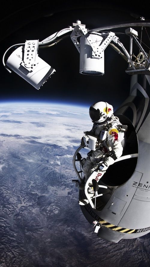 Felix Baumgartner sets the record for highest free fall ever by jumping out of a capsule in the stratosphere and breaking the sound barrier.