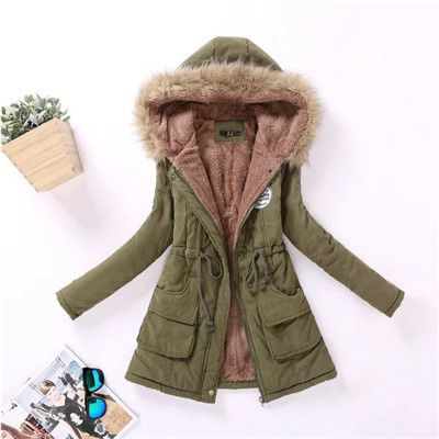 2017 Warm Parkas Women Coat Fashion Autumn Winter Jacket Women Fur Collar Long Parka Plus Size Hoodies Casual Cotton Outwear