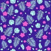 Тропические цветы и листья модель — стоковый вектор #68470215