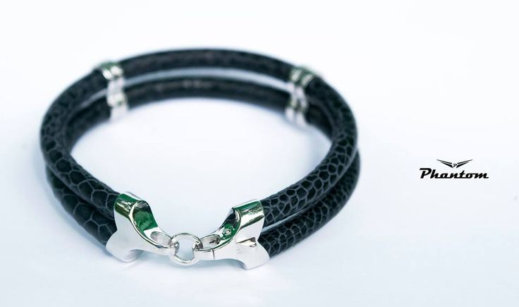 Black Ostrich Leather Bracelet.  . #jewelry #leatherbracelet #phantom #ostrichbracelet #silver #handcrafted #beautiful #bracelet #fashion #ostrichleather #luxury #musthave #leather #billionaire #billionairesclub