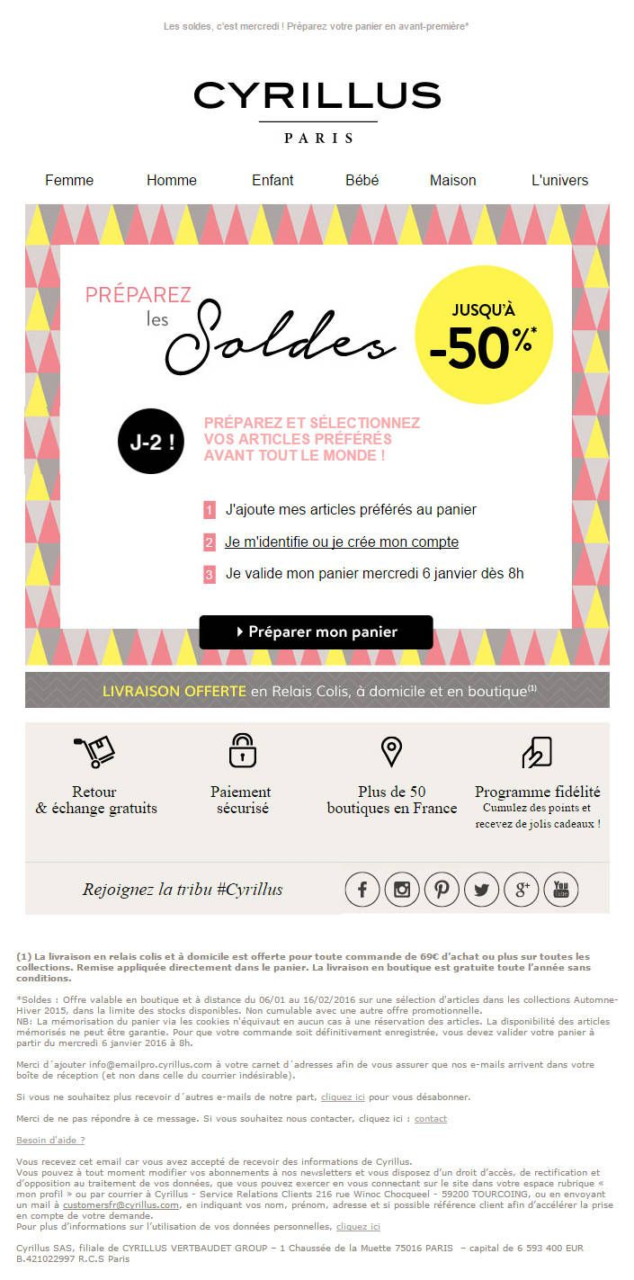 Cyrillus - Email annonce soldes J-2