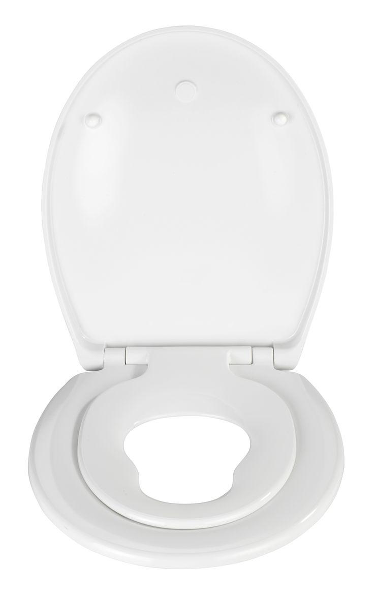 WENKO Premium WC-Sitz Bambino mit Kindersitz und Absenkautomatik  Description: Der hochwertig verarbeitete weiße Premium WC-Sitz Bambino zeichnet sich durch eine ovale Deckelform aus. Er verfügt nicht nur über einen angenehmen Sitzkomfort sondern ist mit praktischen Zusatzfunktionen ausgestattet. In erster Linie überzeugt er durch seine innovative 2in1-Funktion welchen Erwachsenen und Kindern gleichermaßen gerecht wird. Die für die Kleinen integrierte WC-Brille kann ganz einfach nach oben…