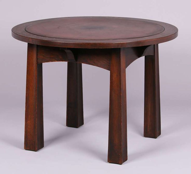 Mathews Furniture Shop Leather Top Game Table With Reverse Tapered Legs  C1907 1912.