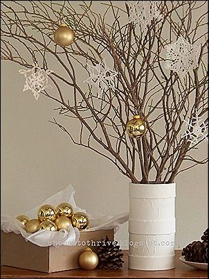 DIY Christmas Center Piece. This could be something cheap for people who need them for a banquet with lots of tables