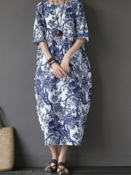 0120d5a6820e Buy Dress For Women at PopJulia. Online Shopping Popjulia Plus Size Crew  Neck Women Dress Cocoon Going out Dress 3/4 Sleeve Vintage Printed Dress,  ...