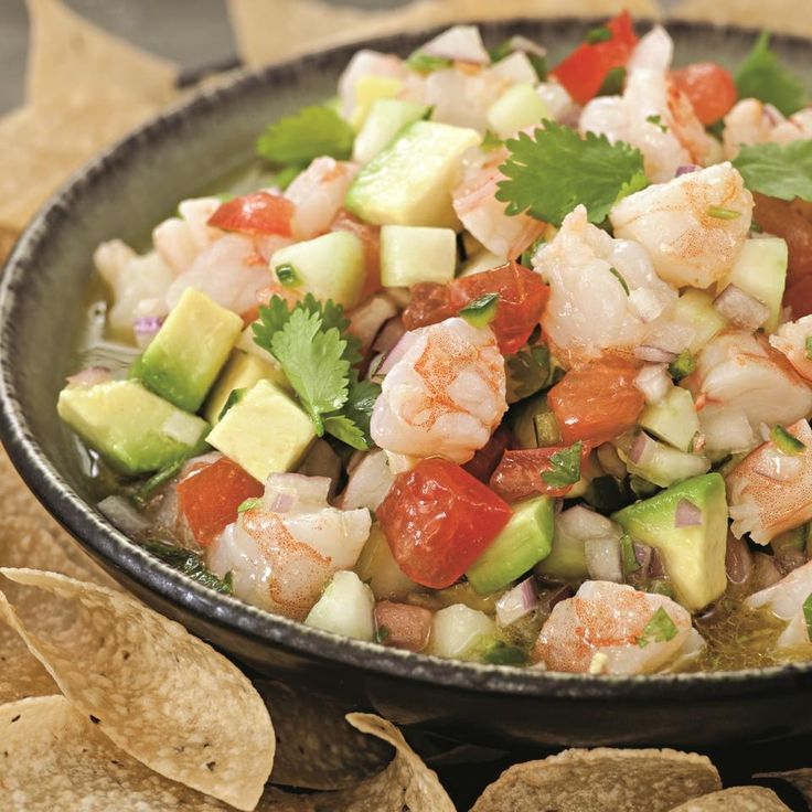 The ceviche is prepared with shrimp, which is first lightly cooked, and then marinated in the citrus juice. Preparation: Combine water and 1/4 cup salt in a large saucepan; bring to a boil over high heat. Add shrimp and immediately turn off the heat. Let the shrimp sit until just cooked through, about 3 minutes. …