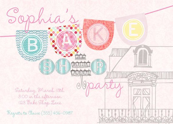 How crazy cute is this bake shop party invite... totally adore the theme and colors! Perfect for your birthday girl! Have your very own bake shop