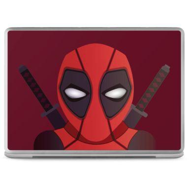 Pegatina de ordenador portatil del heroe y mercenario mas gamberro de los comics, Deadpool