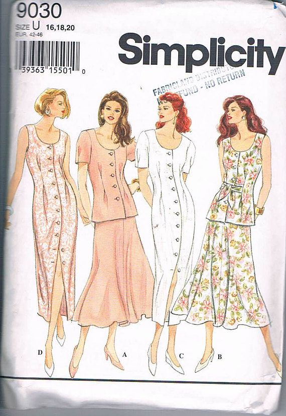 Simplicity 9030 Misses/Misses Petite Dress Skirt and Top