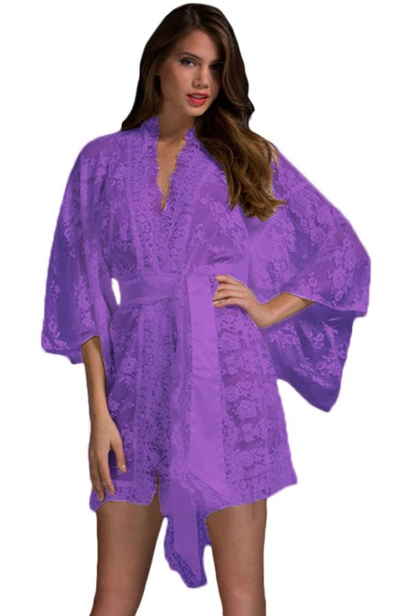 Black Sheer Transparent Lace Kimono Dressing Gown Intimate Sleepwear Robe Night Gown Woman Sexy Lingerie Pajamas Nightgown 21998