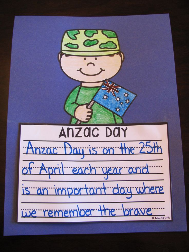Anzac Day writing craft activity - both a boy and girl version with the Australian flag as well as a soldier with no flag - these are awesome because you just hit print!! Check these out!