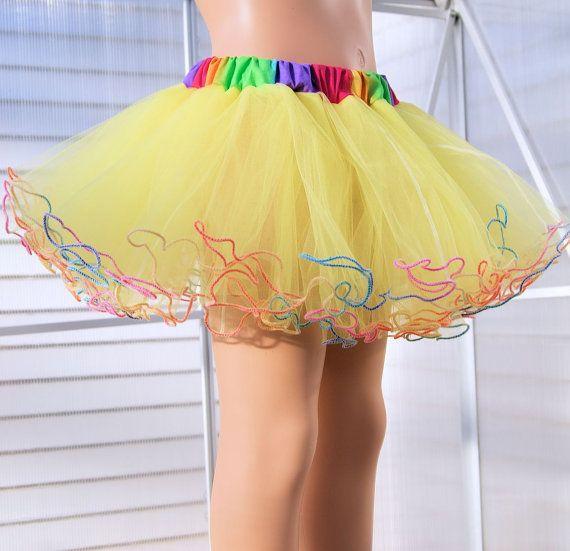 Neon Yellow Rainbow Piped Costume TuTu Crinoline by mtcoffinz