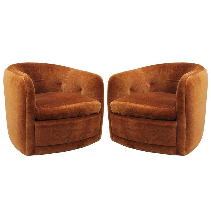 Pair Of Milo Baughman Swivel And Tilt Barrel Back Chairs