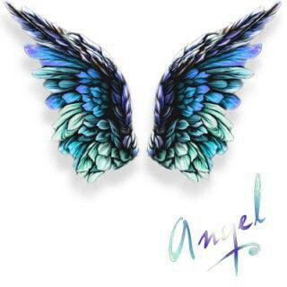 Angel wings colored pencils art